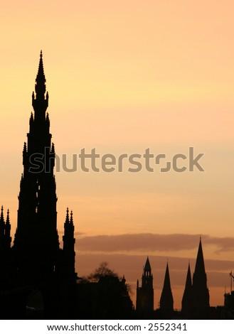 Sir Walter Scott Monument and Princes Street Edinburgh at dusk