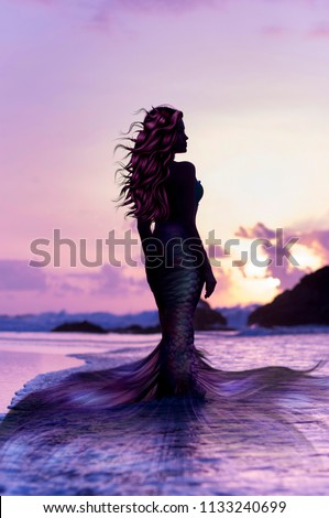 Siren woman on the sunset beach Сток-фото ©