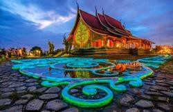 Sirindhorn Wararam Phu Prao is public Temple (Wat Phu Prao) at evening, Very Beautiful Temple near the Thai-Laos Border town of Chong mek In Sirindhorn district of Ubonratchathani Thailand .