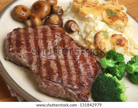 Sirloin steak with dauphinois potatoes, broccoli and mushrooms