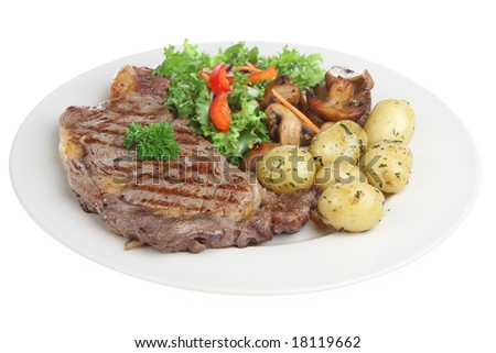 Sirloin steak with new potatoes, mushrooms and salad