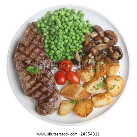 Sirloin steak with sauteed potatoes, mushrooms and peas
