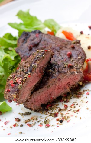 sirloin strip steak with boiled potato