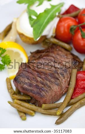 Sirloin Strip Steak with green beans,tomato,pepper