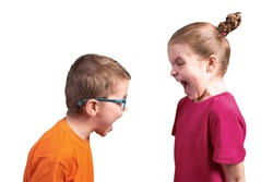 Sister and brother shout at each other. Isolated on a white background.