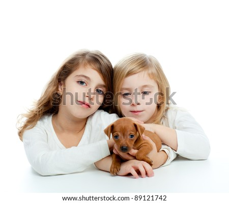 sister kid girls and puppy mascot pet mini pinscher on white background