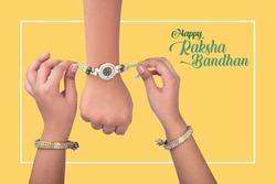 Sister tie Rakhi as symbol of intense love for her brother. Raksha Bandhan Festival Poster