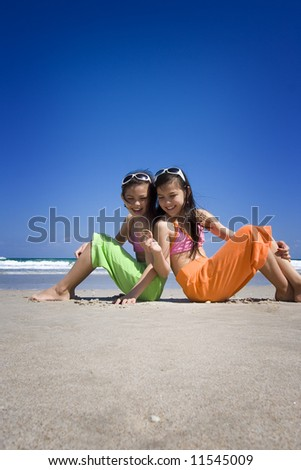 Sisters at the beach