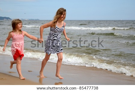 Sisters on the beach