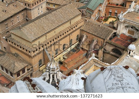 Sistine chapel seen from the basilica cupola's top