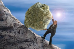 Sisyphus metaphor showing a man struggling to roll a giant rock ball up hill representing business struggles, hard work, environmental threat risk, personal struggles, determination and more.