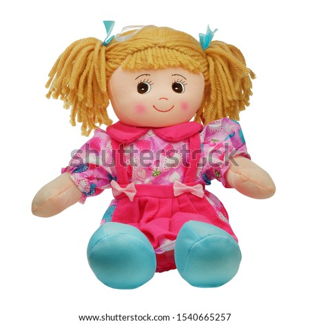 Sit cute smiling pretty rag doll isolated on white