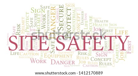 Site Safety word cloud. Word cloud made with text only.