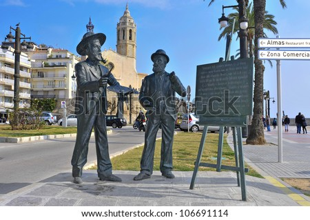SITGES, SPAIN - MARCH 3: Monument to Santiago Rusinol and Ramon Casas on March 3, 2012 in Sitges, Spain. This statue pays tribute to both international catalan modernist artists established in Sitges