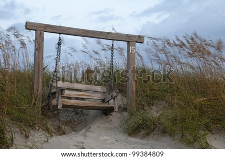 Sitting Bench at Beach in Tybee Island