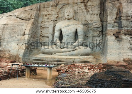 Sitting Buddha in Polonnaruwa -  medieval capital of Ceylon,UNESCO World Heritage Site