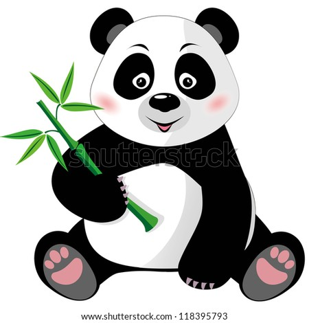 Sitting cute little panda with bamboo isolated on white background. Raster version