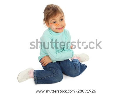 sitting girl with painted face