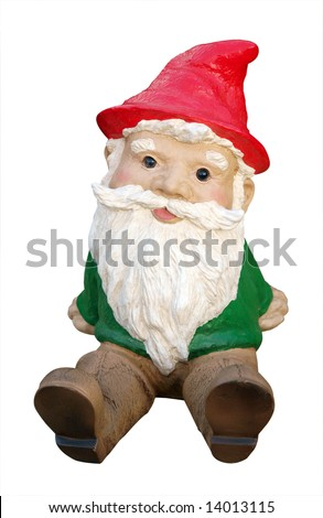 Sitting Gnome isolated with clipping path - stock photo