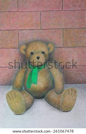 Постер, плакат: sitting teddy bear reproduction, холст на подрамнике