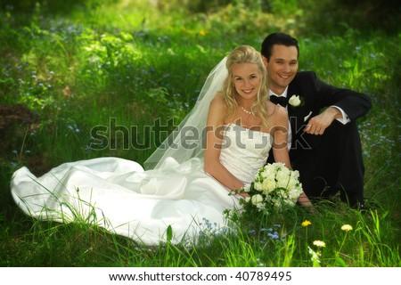 Sitting Wedding Couple