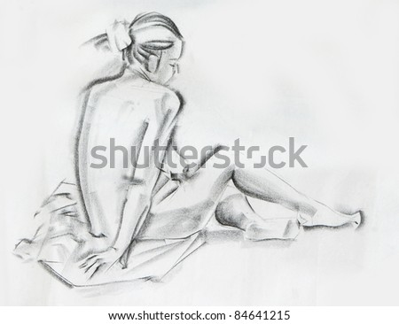 sitting woman charcoal drawing