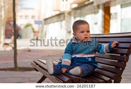 Sitting young boy