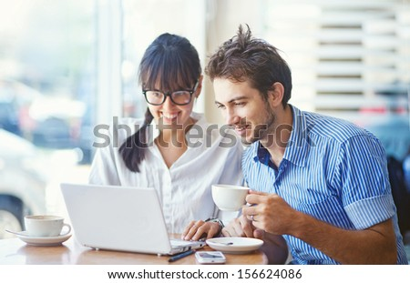 situation in office (focus on the eyes of man) - stock photo