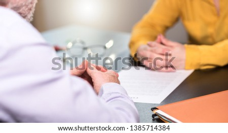 Situation of business negotiation between businesswoman and businessman, light effect #1385714384