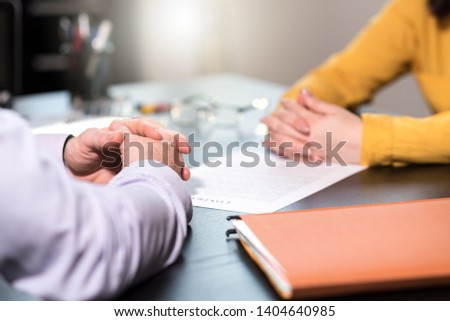 Situation of business negotiation between businesswoman and businessman, light effect #1404640985