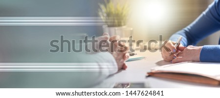 Situation of business negotiation between businesswoman and businessman, light effect #1447624841