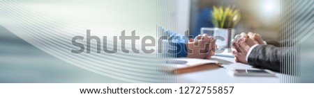 Situation of business negotiation between businesswoman and businessman, light effect. panoramic banner #1272755857