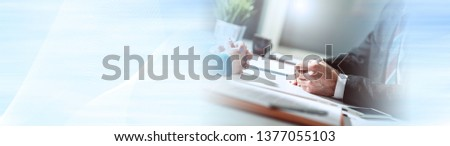 Situation of business negotiation between businesswoman and businessman, light effect. panoramic banner #1377055103