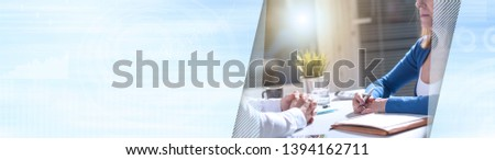 Situation of business negotiation between businesswoman and businessman, light effect. panoramic banner #1394162711