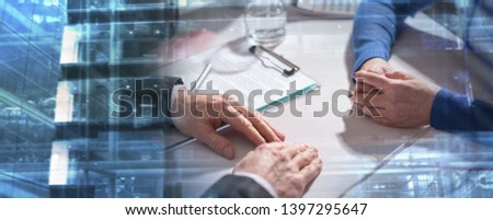 Situation of business negotiation between businesswoman and businessman; multiple exposure #1397295647