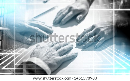 Situation of business negotiation between businesswoman and businessman; multiple exposure #1451598980