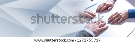 Situation of business negotiation between businesswoman and businessman. panoramic banner #1272755917