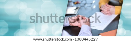 Situation of business negotiation between businesswoman and businessman. panoramic banner #1380445229