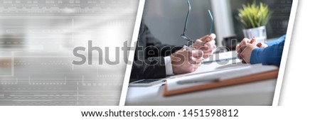 Situation of business negotiation between businesswoman and businessman; panoramic banner #1451598812
