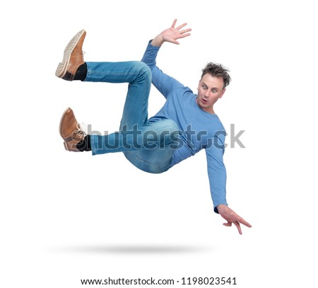 Situation, the man is falling. isolated on white background. Concept of an accident