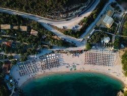 sivota aerial photography of the exotic tropical beach mega ammos between mikri ammos, mega drafi beach and agia parskevi beach of perdika town in thesprotia epirus greece near parga and preveza