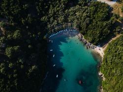 sivota aerial view of zavia tropical beach nearby areas mega ammos beaches of mikri ammos, mega drafi beach and agia parskevi beach of perdika in thesprotia epirus greece near parga and preveza