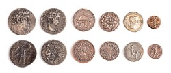 Six Ancient Roman and Jewish Coin Replicas Isolated on a White Background