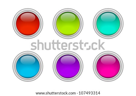 Six assorted colors glossy badges / buttons. Raster version