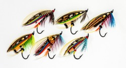 Six beautiful and colourful fly fishing flies on a white background