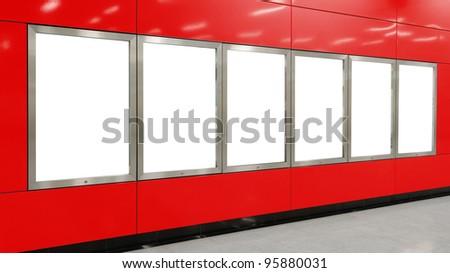 Six big vertical / portrait orientation blank billboard on modern red wall