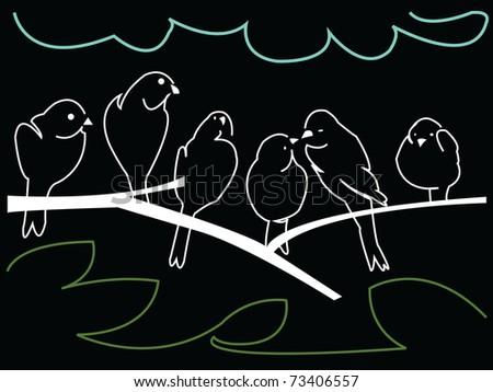 six birds on a branch - stock photo