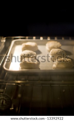 six biscuits baking in oven on tray