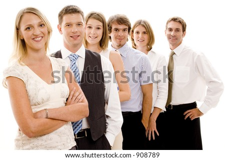 Six business men and women form a business team (shallow depth of field used)