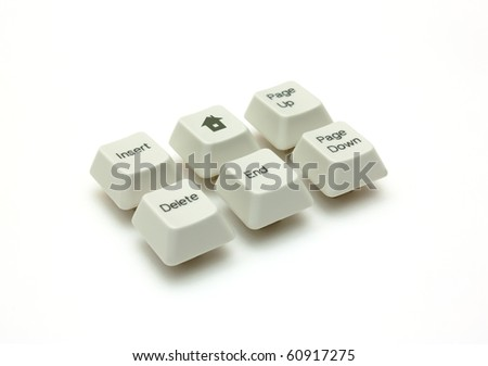 Six buttons of the keyboard isolated